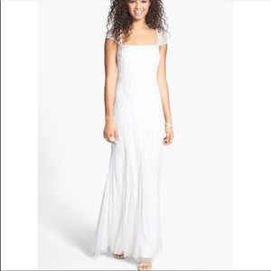 Adrianna-Papell white cap sleeves Gown